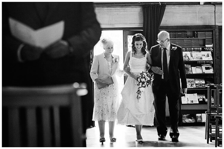 Michaelhouse wedding bride walks down aisle with father and mother