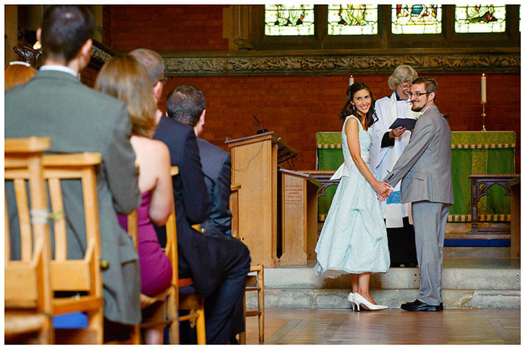 Michaelhouse wedding bride groom look at guests during ceremony