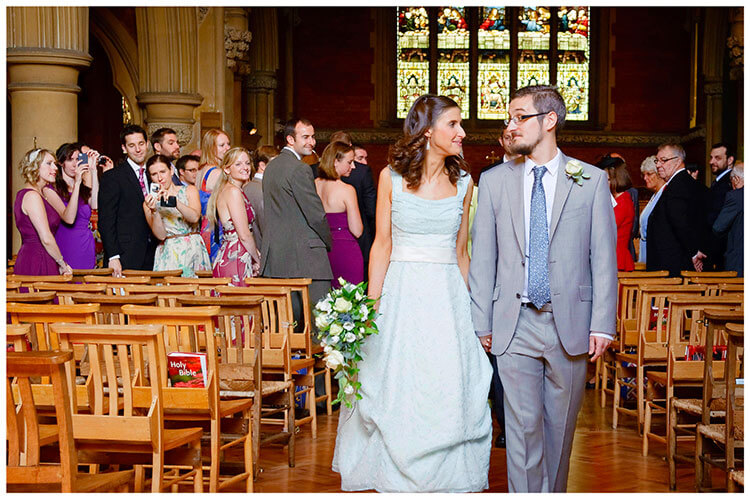 Michaelhouse wedding brid egroom look at each other as they walk down aisle, guests take photos