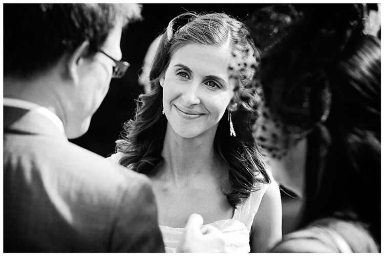 Michaelhouse wedding bride portrait talking to guests