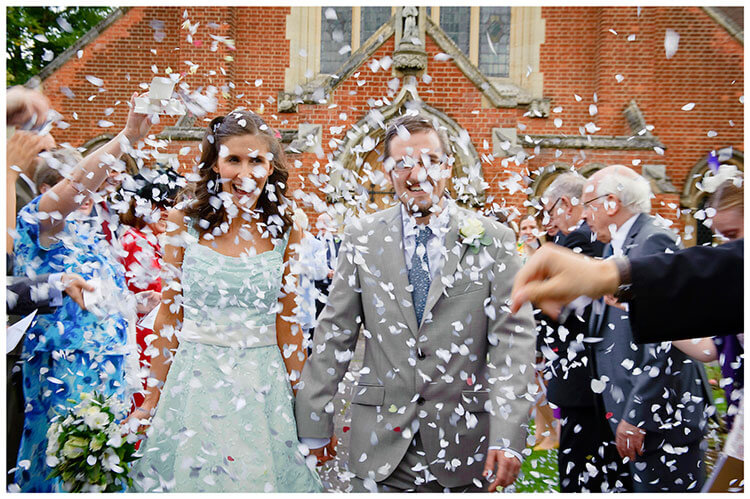 Michaelhouse wedding bride groom lost in confetti
