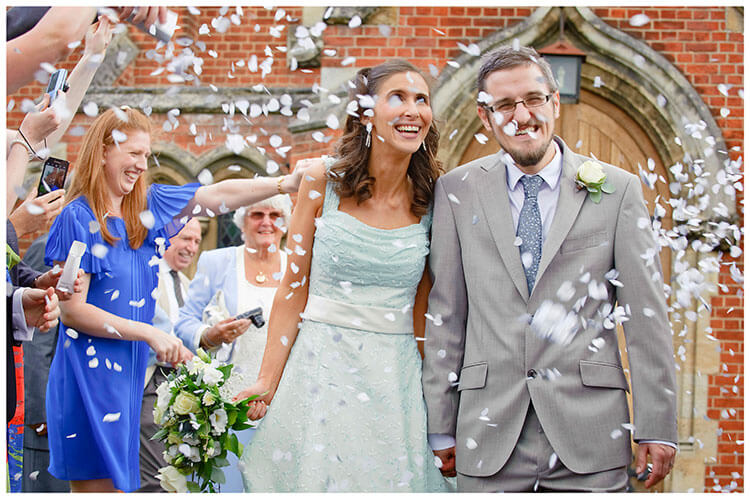 Michaelhouse wedding bride groom confetti smiling