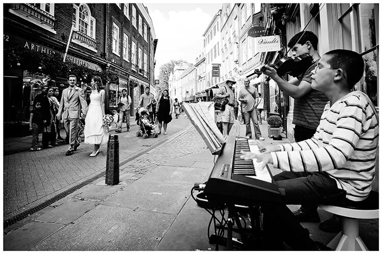 Michaelhouse wedding bride groom musicians, streets cambridge