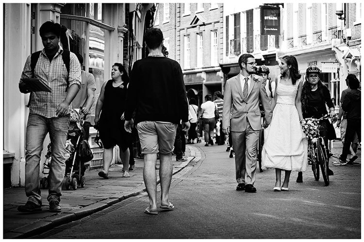 Michaelhouse wedding bride groom walk streets of Cambridge