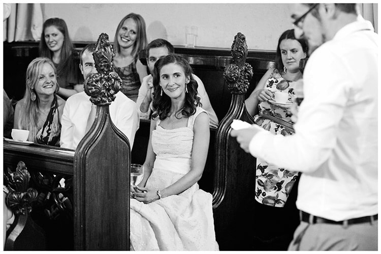 Michaelhouse wedding smiling bride during grooms speech