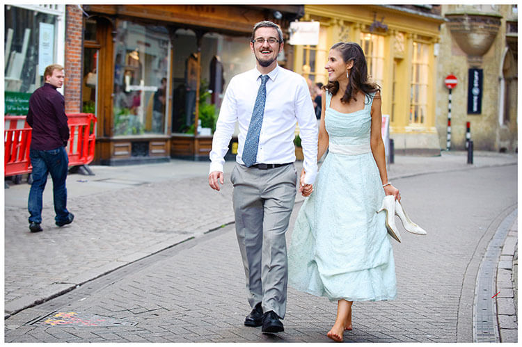 Michaelhouse wedding smiling bride groom walking, bride carrying her shoes