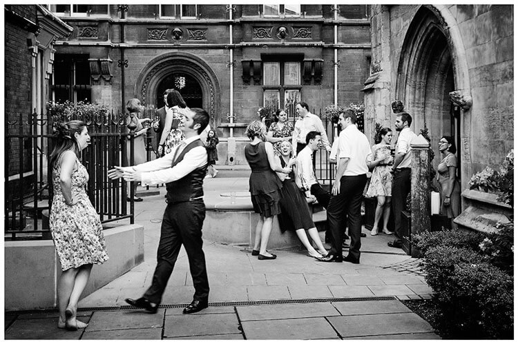 Michaelhouse wedding guests talking outside