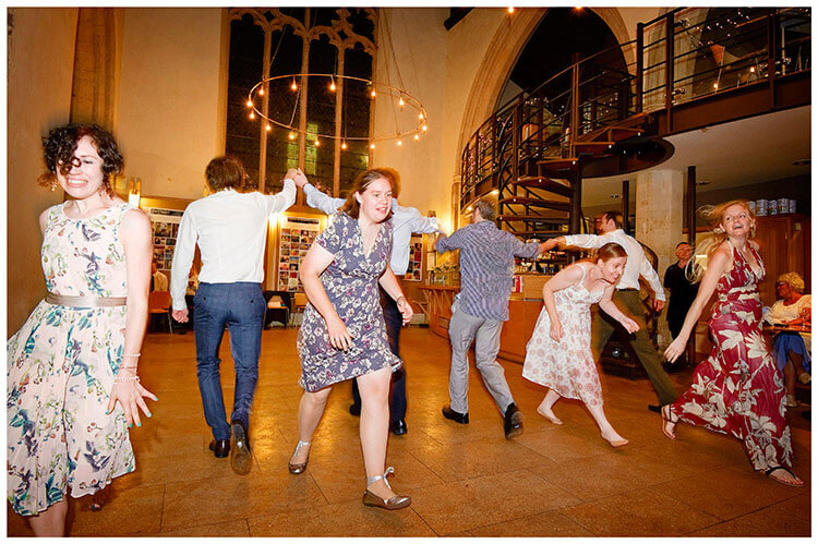 Michaelhouse wedding all in a line ceilidh dancing