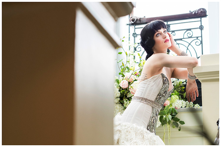 Bridal Gown Gorgeousness Dress Day UK London Bride on stairs leaning against pillar