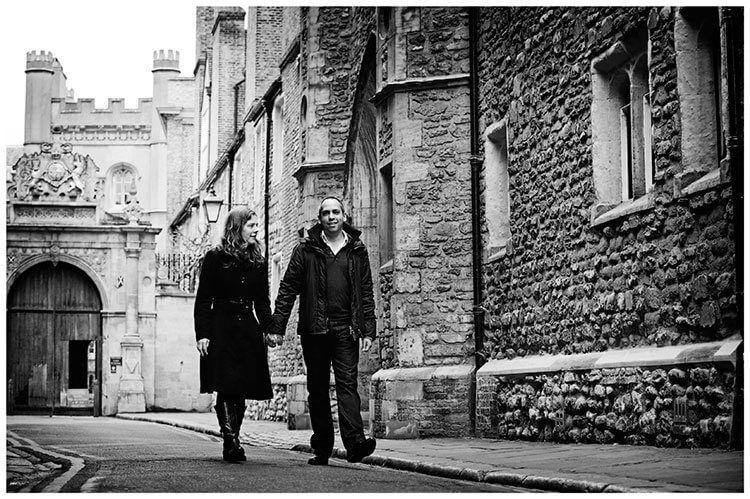 Pre Wedding Photography couple walking along Cambridge street holding hands