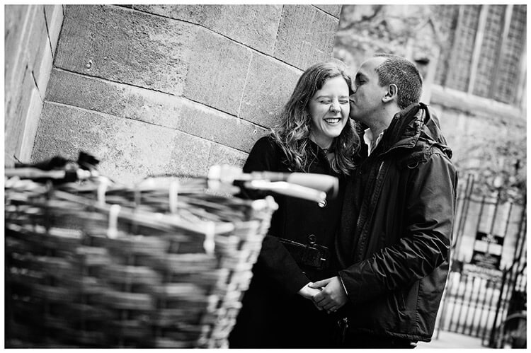 Pre Wedding Photography Cambridge holding hands kissing couple