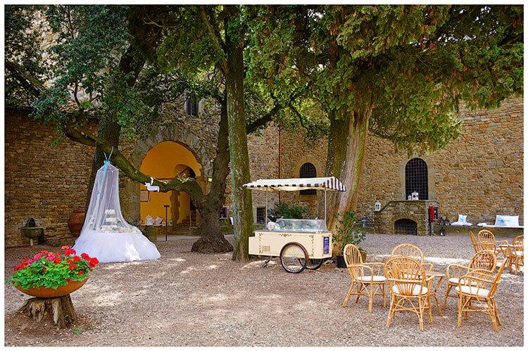 Castel di Poggio wedding venue central courtyard decorated for the big occasion