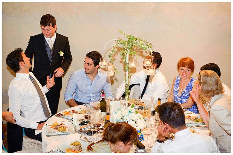 Castel di Poggio wedding groom making the rounds