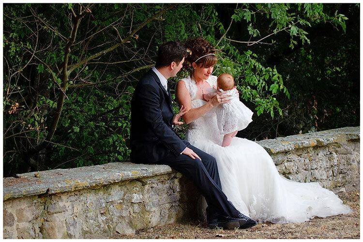 Castel di Poggio wedding happy family tender moment between bride groom