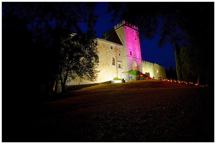 Castel di Poggio wedding venue at night