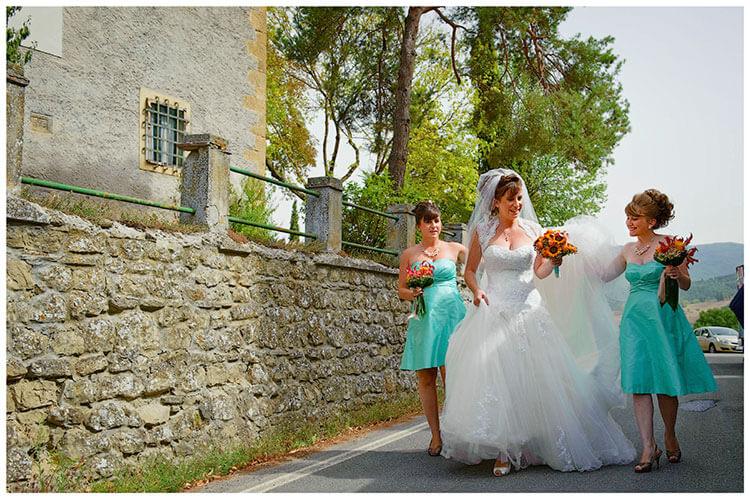 Fraternita di Romena wedding bride bridesmaids walking to church