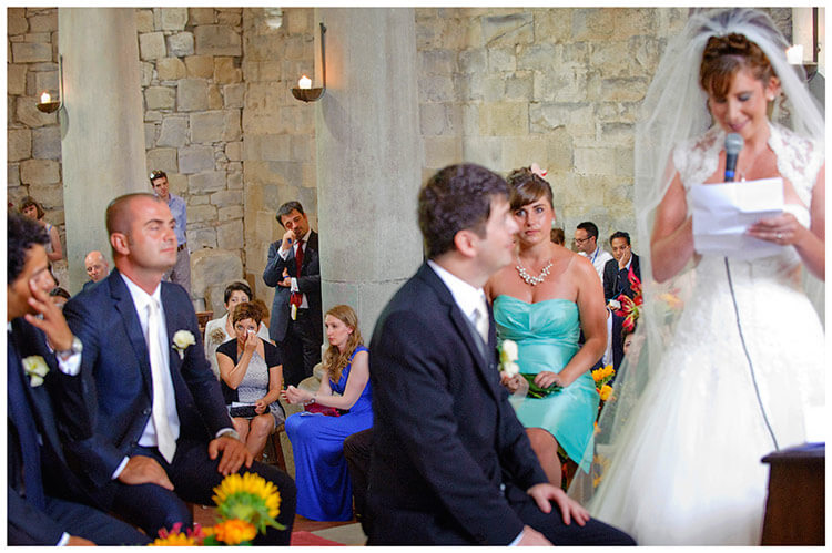 Fraternita di Romena wedding guests tears bride vows
