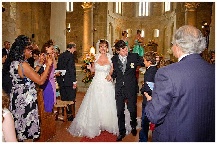 Fraternita di Romena wedding walking down ailse