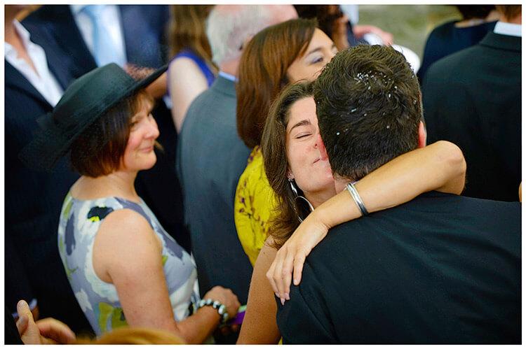 Fraternita di Romena wedding big hug for groom