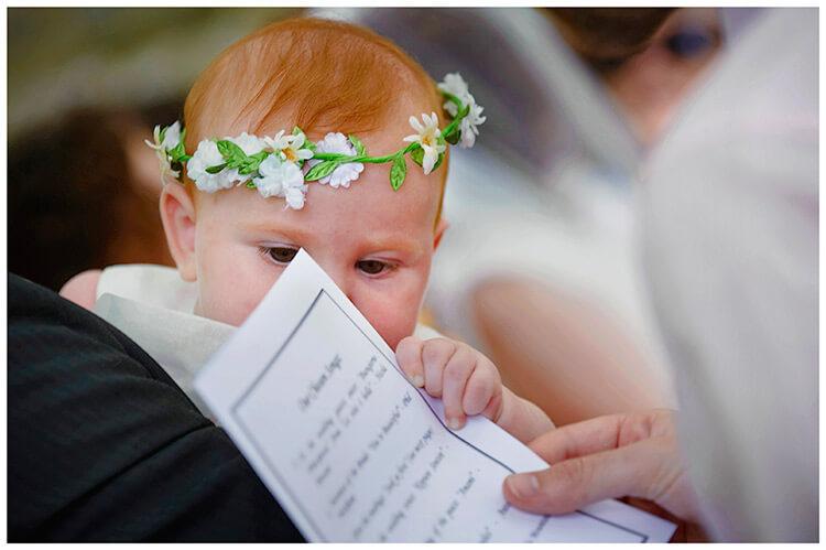 Fraternita di Romena wedding flowergirl had garland order of service