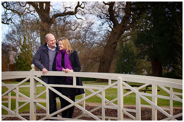 Sculpture Gallery Pre-Wedding photography couple smiling on foot bridge