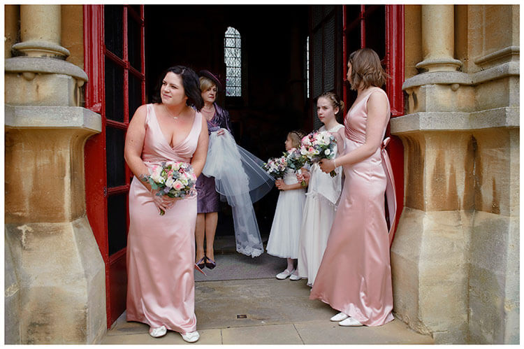 Woburn Church wedding bridesmaids waiting