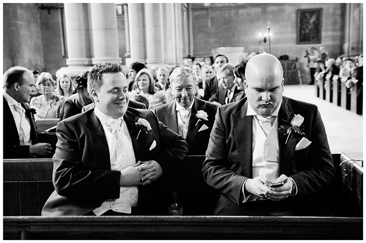 Woburn Church wedding groom turns off phone bestman watches