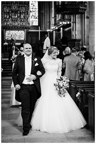 Woburn Church wedding bride groom walking down aisle