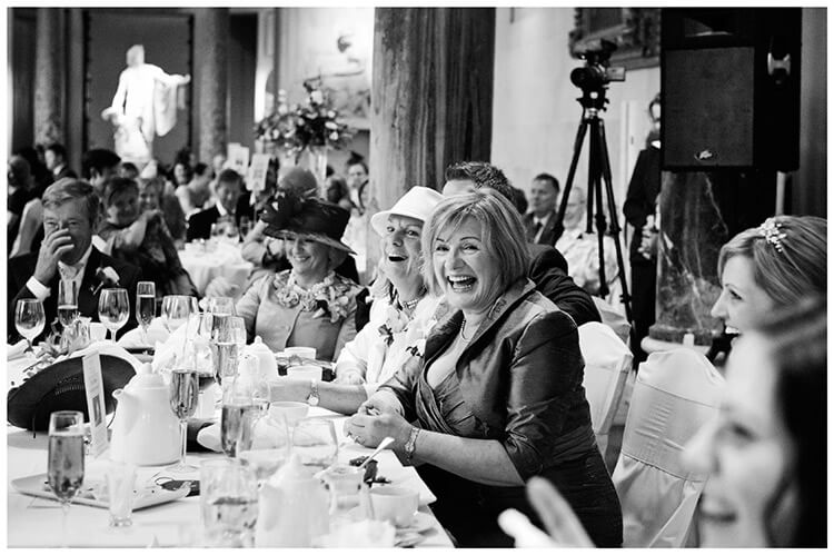 Woburn Sculpture Gallery wedding laughter during speeches