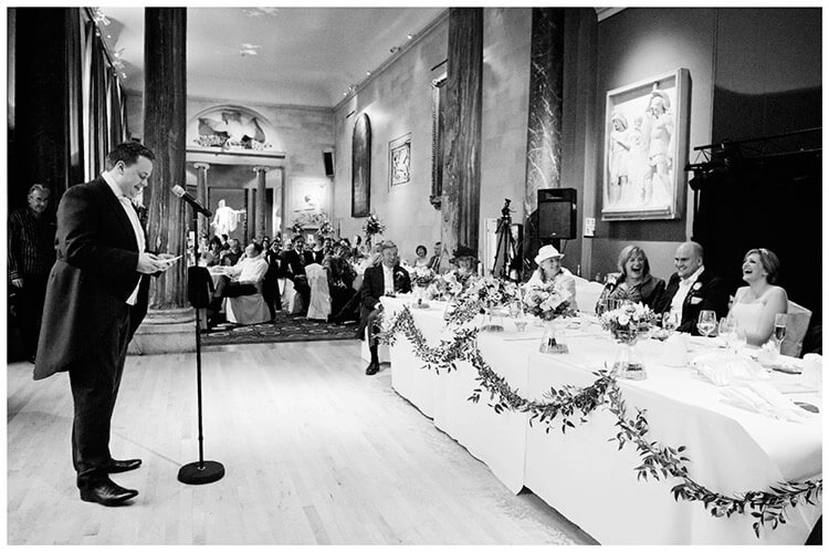 Woburn Sculpture Gallery wedding best man speech laughter