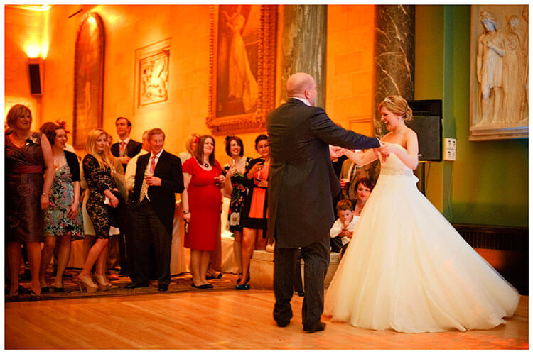 Woburn Sculpture Gallery wedding bride groom first dance
