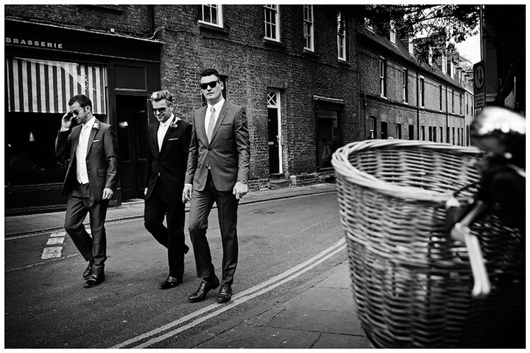 Christ's College wedding groomsmen on streets of Cambridge