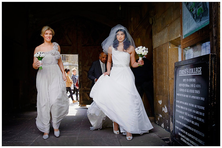 Christ's College wedding nervous bride enters college