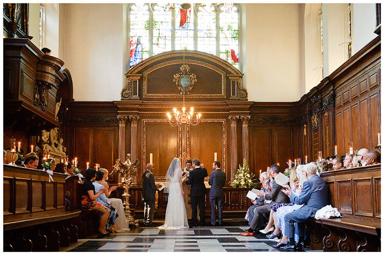 Christ's College wedding ceremony in chapel