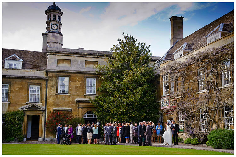 Christ's College wedding outside chapel