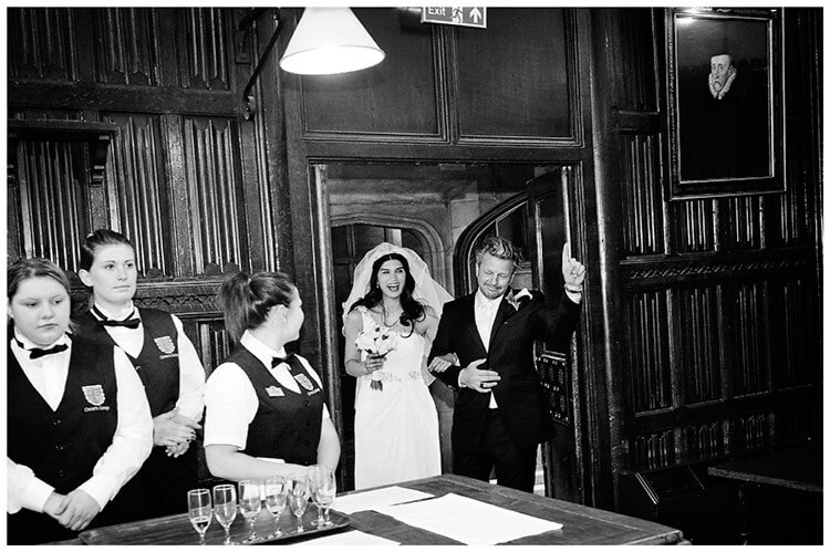 Christ's College wedding happy bride groom enter dining room