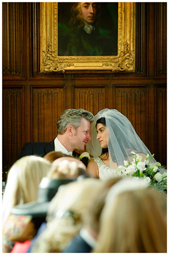 Christ's College wedding bride groom eyes only for each other