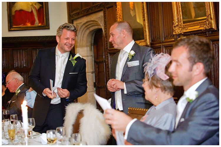 Christ's College wedding groom flicks his speech cards