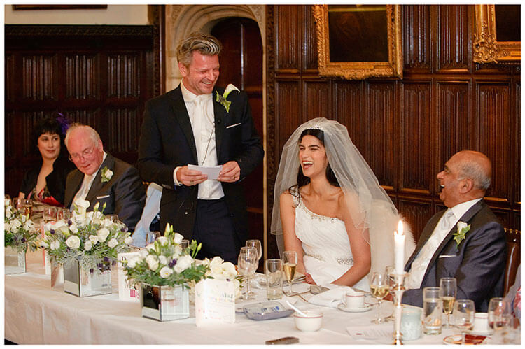 Christ's College wedding bride groom laughing during grooms speech