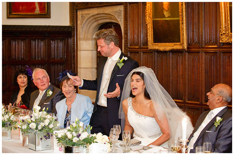 Christ's College wedding bride laughing during grooms speches