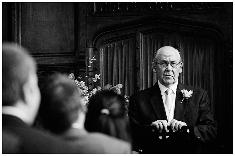 Wedding photography at Hengrave Hall sermon