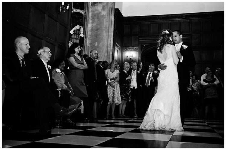 Wedding photography at Hengrave Hall first dance on chequered floor