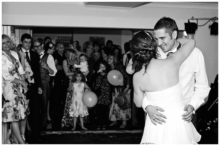 Sheene Mill wedding groom smiles at bride during first dance