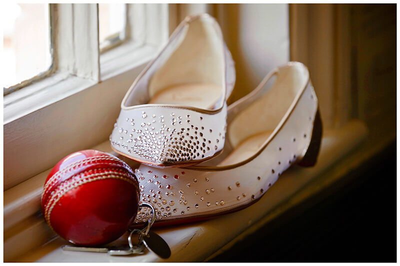 Boutique Hotel wedding Old Bridge Hotel Cricket Ball room key fob and shoes
