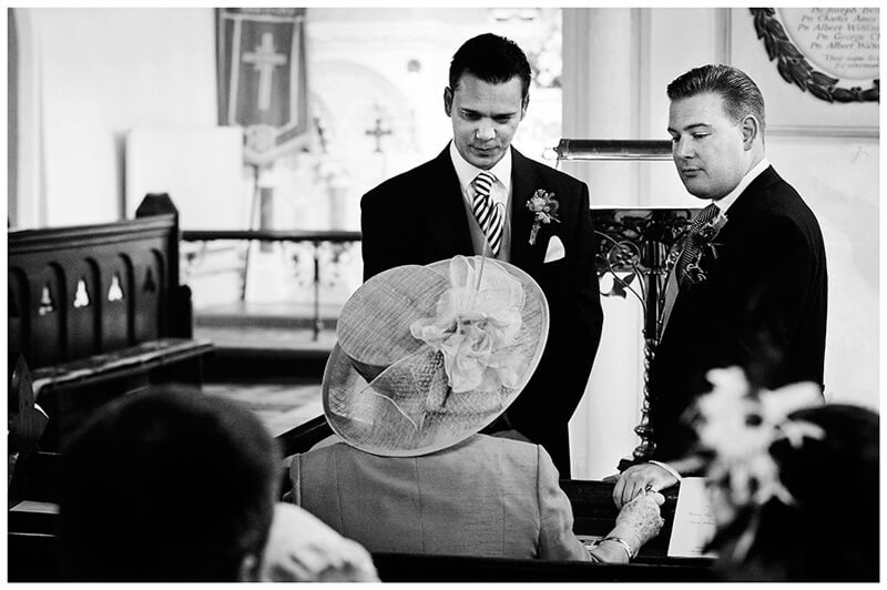 All Saints Church Hartford groom bestman talking to grooms mother