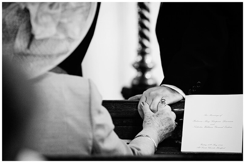 All Saints Church Hartford grooms mother holding his hand