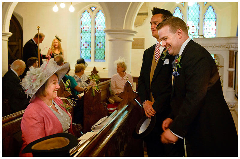 All Saints Church Hartford groom laughing with mother