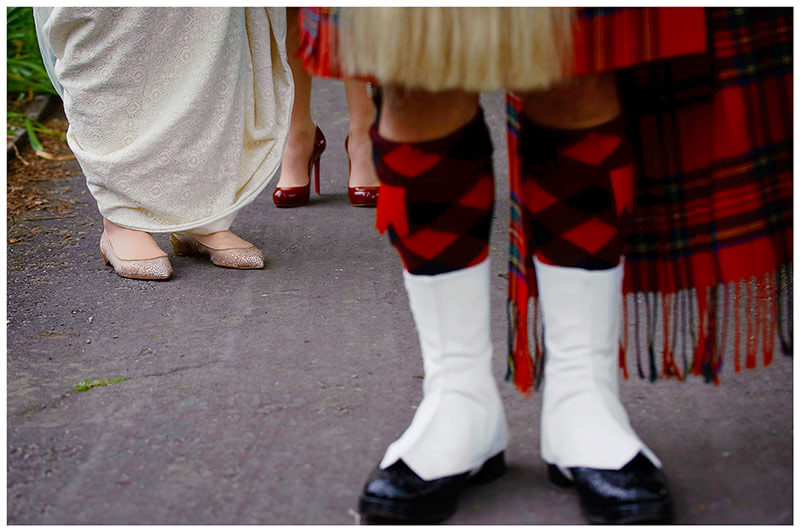 bagpiper kilt and brides shoes