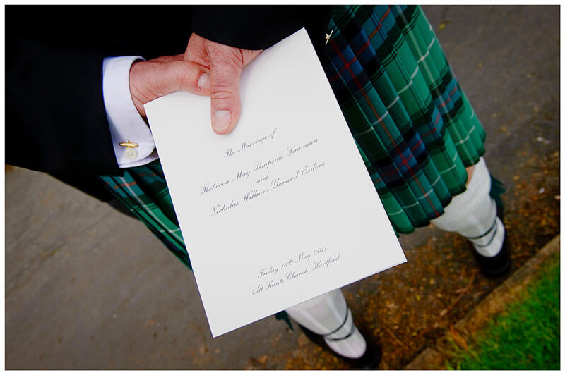 order of service scottish kilt