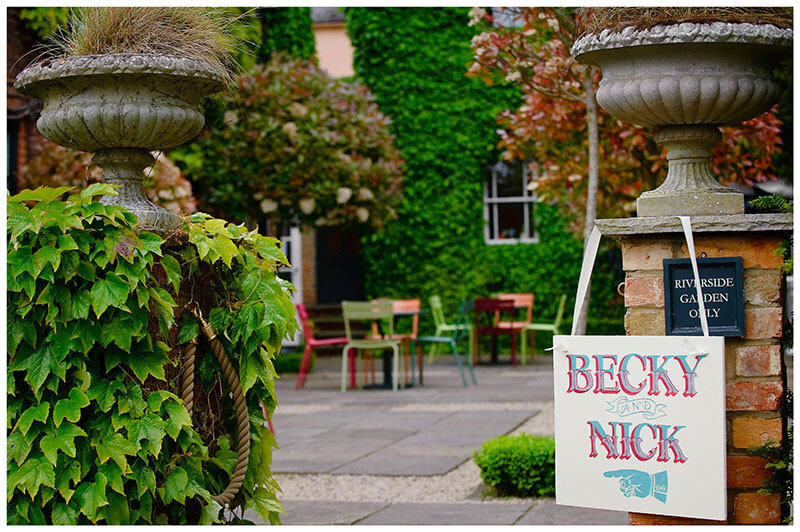 Boutique Hotel wedding Old Bridge Hotel Nick and Becky sign